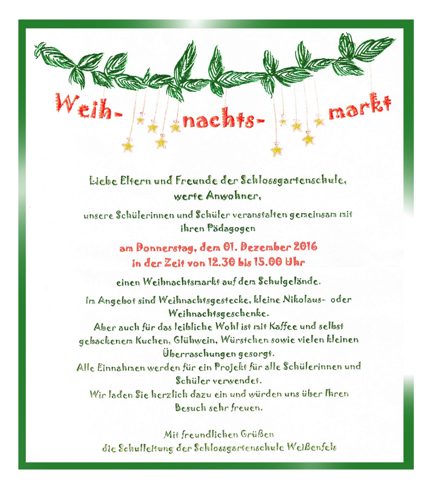 weihnachtsmarkt – schlossgartenschule_wsf.de, Einladungen